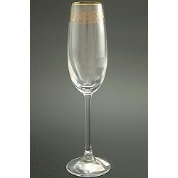 Бокал для шампанского 180 мл «Эсприт» оптика декор панто + втертое золото +золотая кайма по краю рюмки