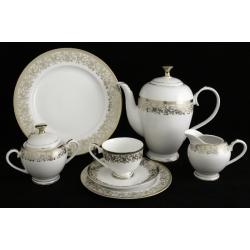 Чайный сервиз «Согдиана платина» из 40 предметов на 12 персон