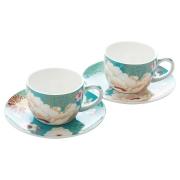 Набор: 2 чашки с блюдцами Кимоно (бирюза) в подарочной упаковке