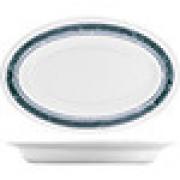 Блюдо овальное «Риалто» H=28, L=220, B=140мм; белый, зелен.
