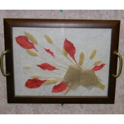 2 в 1: Поднос с цветами 30х40,красный лист-настенное украшение