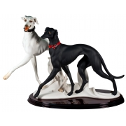 Скульптура «Бегущие борзые» (черная и белая) Н=52