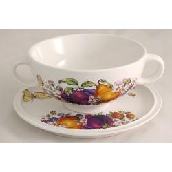 Суповая чашка на блюдце «Фрукты и ягоды»  0,5 л
