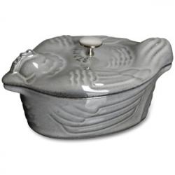 Кастрюля с крышкой чугунная в виде курицы, L 31 см, 4,6 л, цвет серый