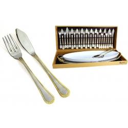 Набор для рыбы: метал. блюдо,фарф. блюдо, 12 вилок, 12 ножей, большие вилка и нож. «Griglia»