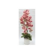 Декор.цветы Орхидеи тём.розовые в керам.вазе