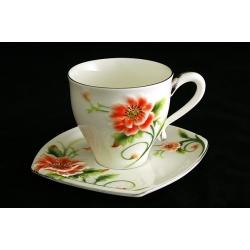 Чайный набор из 12 предметов: 6 чашек+6 блюдец «Цветущий мак»