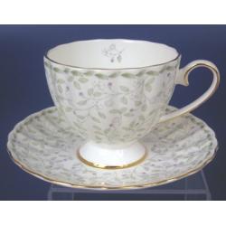 Н 1050011 Джулия ГРИН 3 н-р 220мл чашек чайных высоких с блюдцем 6/12 (зол.лента)