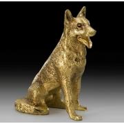 Собака овчарка цвет - золото 13х9см