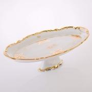 Блюдо овальное 50 см. н/н «Кленовый лист белый»