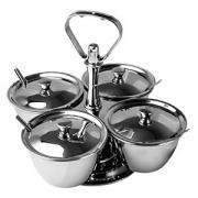 Набор фуршетный для соусов и специй на 4чаши с кр., сталь нерж., D=10,H=6см