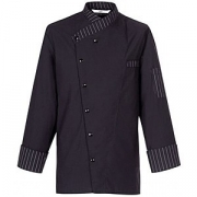 Куртка поварская р.M на кнопках, полиэстер,хлопок, черный,белый