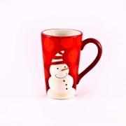 Кружка 550мл. высокая «Рождественская полька» (красная)