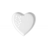 Тарелка (сердце) малая, белая Листья в подарочной упаковке