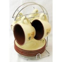 Чайный набор на металлической подставке «Сосна» на 4 персоны