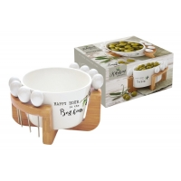 Набор для закуски: чаша для оливок + 8 шпажек на подставке Kitchen Elements в подарочной упаковке