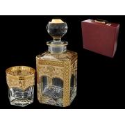 Набор для виски в бордовой кожаном чемодане(штоф + 6 стаканов)