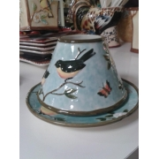 Подсвечник , 2предмета: тарелка под свечку18см + абажур керам. «Утренняя песня»