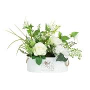Декоративные цветы Розы белые в жестяной вазе