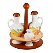 Набор на деревянной подставке соль/перец/масло/уксус «Магнолия оранжевая»