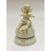 Фарфоровая музыкальная статуэтка «Ангелочек со скрипкой» 14 см