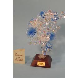 Бонсай с хризантемами синий, 22см.