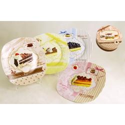 Набор из 4-х десертных тарелок «Шоколадный торт» 19 см