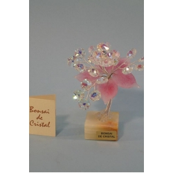 Бонсай с хризантемой розовый 15 см