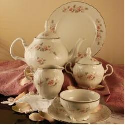 Чайный сервиз 12/41; декор «Бледные розы, отводка платина»