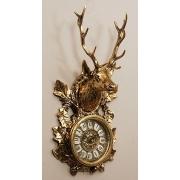 Часы-голова оленя настен. золотистый 37х18 см.