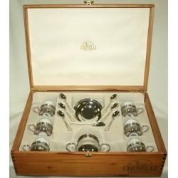 Кофейный набор (изделие из фарфора с металлом) на 6 персон в деревянной коробке «Ажур»
