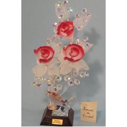 Бонсай с розами розовый 28 см