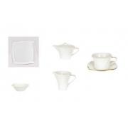 Сервиз чайный 21пр. на 6 персон«Дюк белый с золотом»