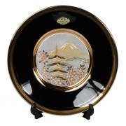 Тарелка декоративная 15 см черная с подставкой Пагода