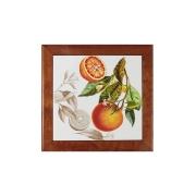 Подставка под горячее из дерева с керамикой Апельсины
