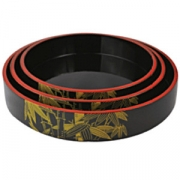 Блюдо-барабан для суши пластик; D=21,H=5см; черный,желт.