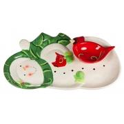 Набор 2 предмета: блюдо сервировочное 40см в виде снеговика+салатник в виде птички «Снеговик»