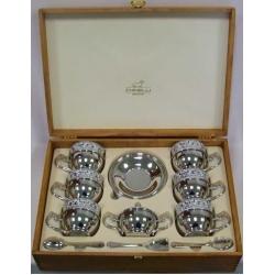 Чайный набор на 6 персон в деревянной подарочной коробке (6 чашек, 7 ложек, сахарница с крышкой)