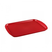 Поднос прямоуг., пластик, H=15,L=420,B=300мм, красный