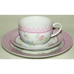Набор: чашка, блюдце, десертная тарелка