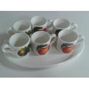 Н-р кофейный 7пр: 6чашек + поднос 31см «Эмилия»