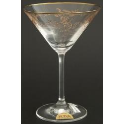 Рюмка для мартини 180 мл «Гала» панто втертое золото + золотая кайма