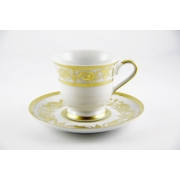 Набор для кофе «Александрия Голд/белый» (чашка 100 мл. +блюдце) на 6 пер. 12 пред.