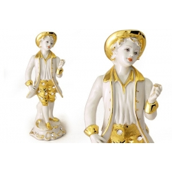 Статуэтка «Мальчик с цветком» (белая с золотом)25 см