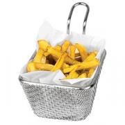 Корзинка для картошки фри; сталь нерж.; H=55,L=100,B=85мм