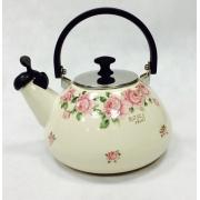 Японский эмалированный чайник со свистком на 3 литра, серия «Розы»