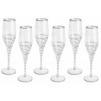 Набор: 6 бокалов для шампанского Спираль (серебро)