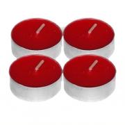 Свечи «Таблетки» [100шт], воск,алюмин., D=4,H=4см, красный