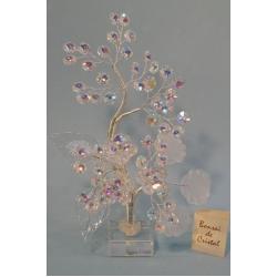 Бонсай с хризантемами матовый белый 26см