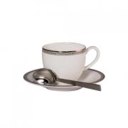Набор 6 кофейных пар 100мл «Серебрянная вышивка«+ 6 кофейных ложек